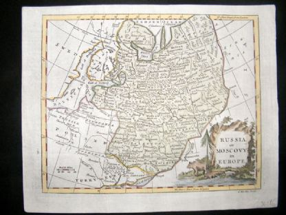 Guthrie & Kitchin 1777 Antique Hand Col Map. Russia or Moscovy in Europe | Albion Prints